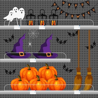 Shop or store counter with halloween attributes. holidays atmosphere. pumpkins, witch hat, broom, bats, ghosts, masks, festoon and street lights on shelves.