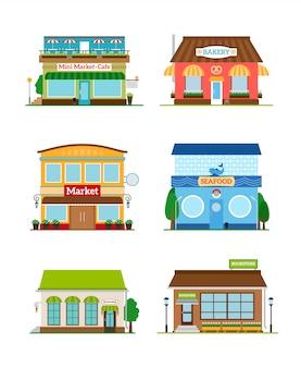 Shop store facade set