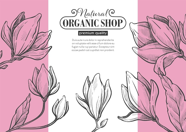 Shop or store with organic products. website banner with text and calligraphic inscription. blooming and flora, ecological ingredients and production. monochrome sketch outline, vector in flat style