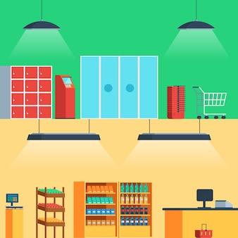 Shop, supermarket interior: entrance, showcase, fruits, vegetables, drinks, atm, shopping cart, checkout.