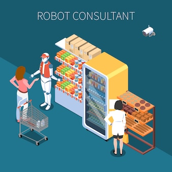 Shop technology isometric  with buyers and robot consultant in store of future interior