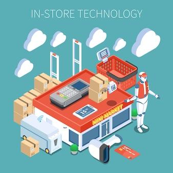 Магазин технологий, супермаркет будущей цветной композиции с системой наблюдения, летающий инвентарь, сканер, робот, консультант, изометрические иконки.