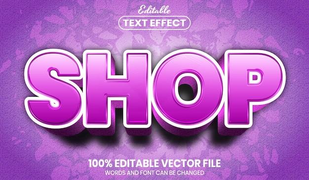 Shop text, font style editable text effect