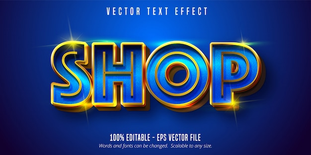 Shop text, shiny gold style editable text effect