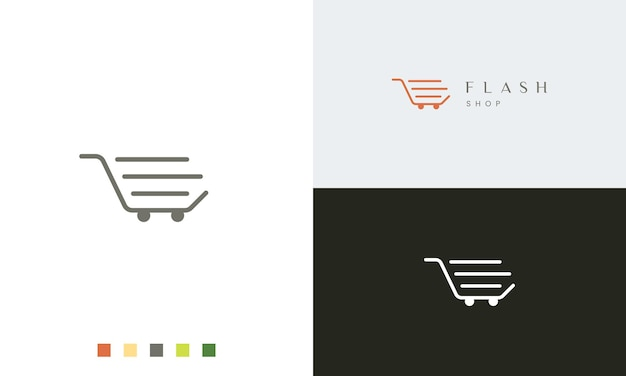 Shop or trolley logo template with simple shape