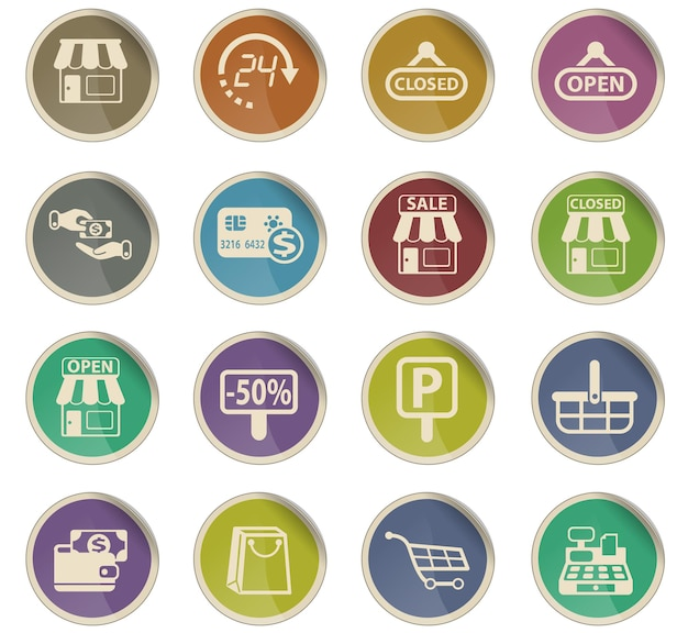 Магазин векторных иконок в виде круглых бумажных этикеток