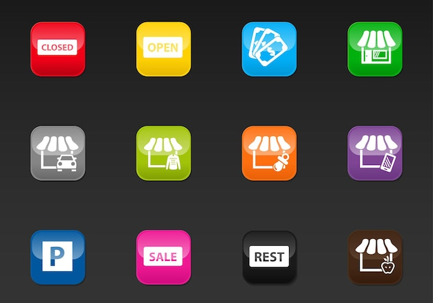 Shop vector icons for user interface design