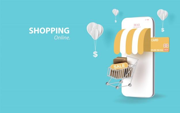 テキストスペースの背景、ショッピングカートの携帯電話の概念に浮かぶショッピングカート、パステルカラーのドルのお金でバルーン、インターネットshop.vectorを介してショッピングのためのスマートフォンのペーパーアート。