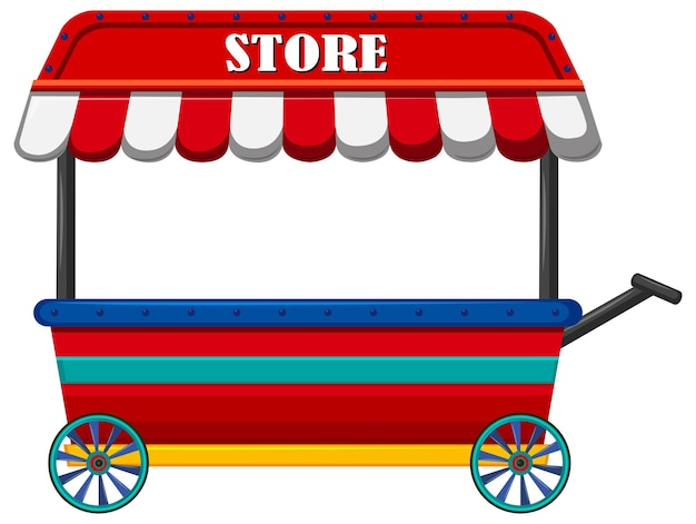 Shop on wheels with red roof