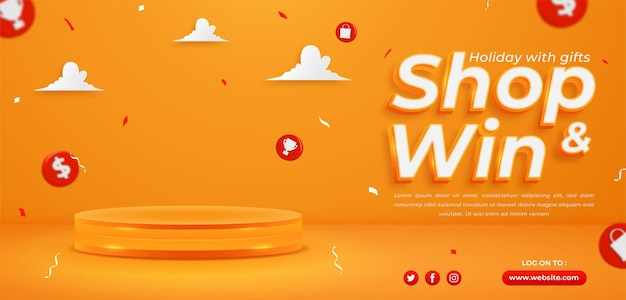 Shop and win, invitation contest horizontal banner template