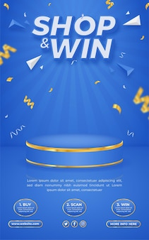 Shop and win invitation contest poster template