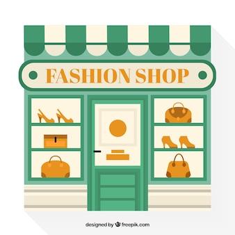 Магазин окно магазина модной одежды в плоском дизайне