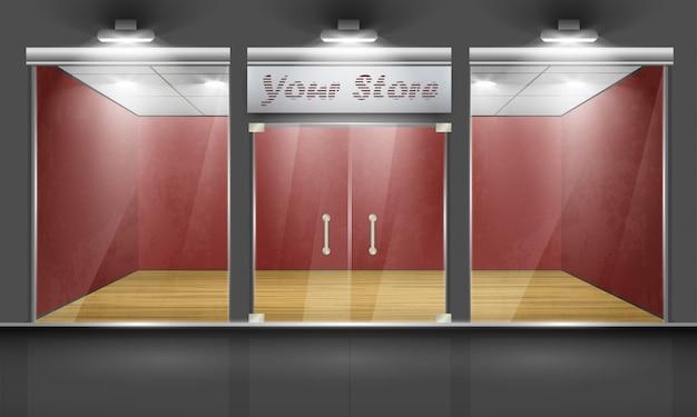 Магазин со стеклянными окнами и дверями, вид спереди