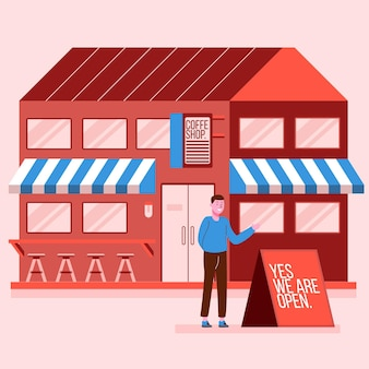 Shop with open sign illustration
