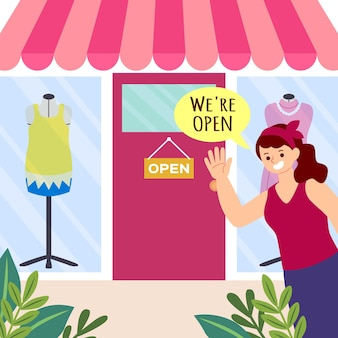 Shop with the sign we are open