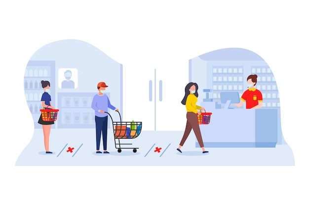 ソーシャルディスタンスと医療用マスクで買い物をしましょう。レジ係のデスクで支払いを待ち行列に入れます。 covid-19の蔓延を防ぐための店内購入者間の健康プロトコル。