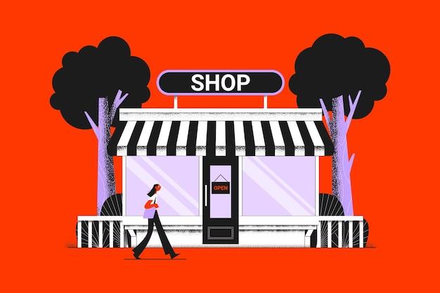 Магазин со знаком открытой концепции