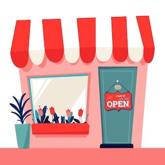 Магазин со знаком открытого стиля