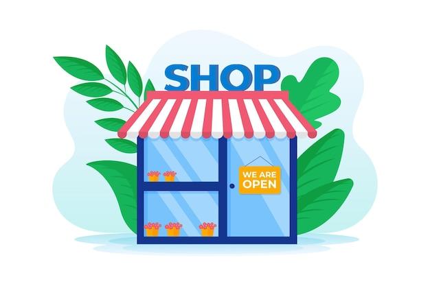 Магазин с открытой вывеской