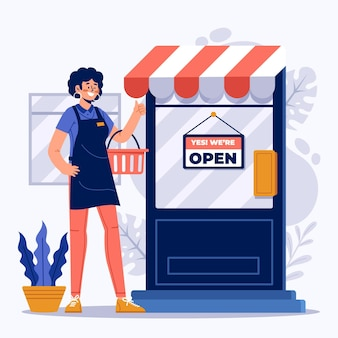 Shop with we are open sign