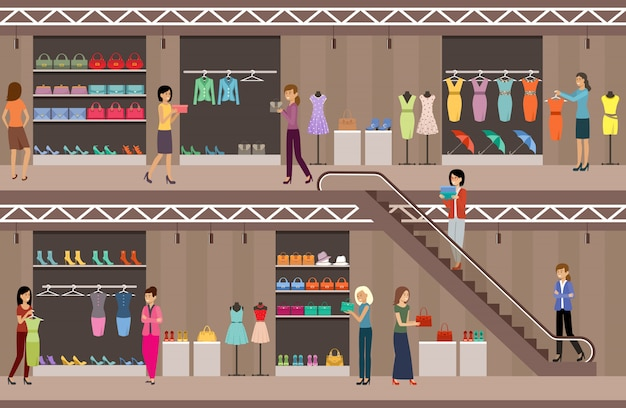Shop women's clothing and shoes. shopping center. supermarket