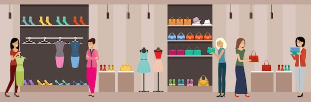 Shop women's clothing and shoes. shopping center.