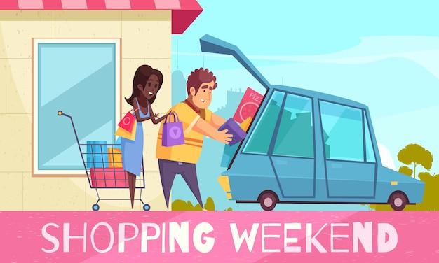 Шопоголик с текстом и парой в мультяшном стиле, кладущий в машину красочные коробки с товарами