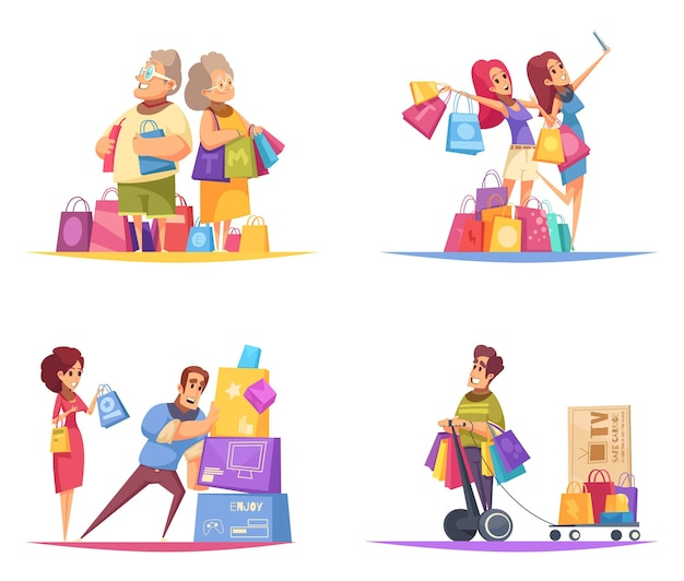 Shopaholic  concept with compositions of colourful cartoon style human characters with goods in colourful boxes