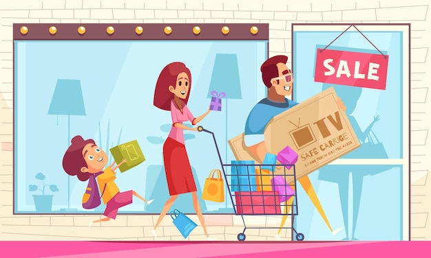 Shopaholic horizontal composition with storefront with sale sign and cartoon characters of family members with goods
