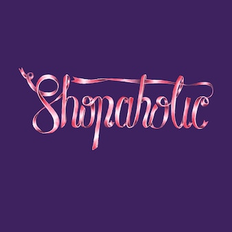 Shopaholic typography design illustration