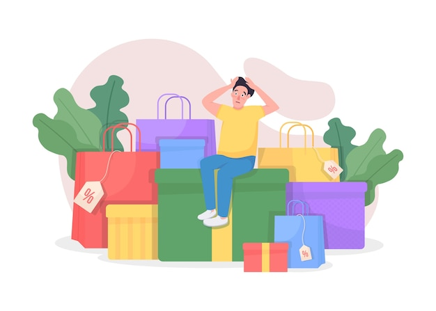 Shopaholic with purchases flat concept illustration. shopping on seasonal sale. customer with sold packets. store client 2d cartoon character for web design. shopaholism creative idea