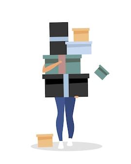 Шопоголизм плоский. девушка с коробками. одержимость покупкой товаров. мультяшный консьюмеризма