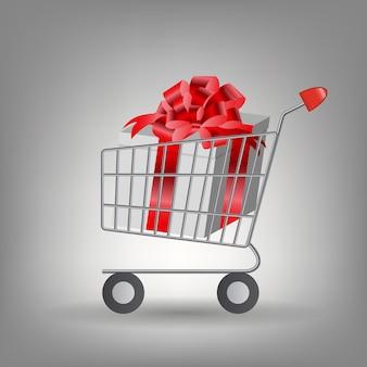 クリスマスプレゼント付きのショッピングカート。ベクトルイラスト
