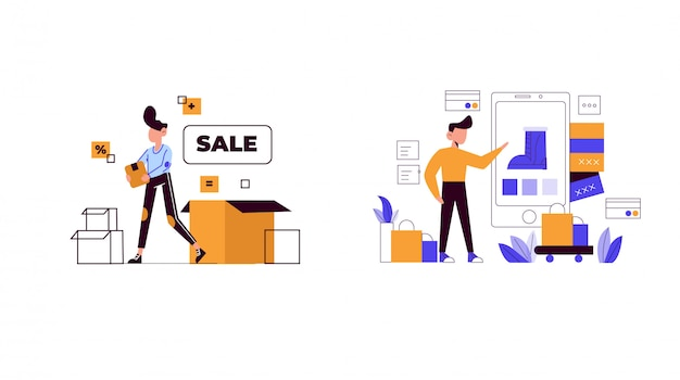 Иллюстрация концепции шопинга для целевой страницы