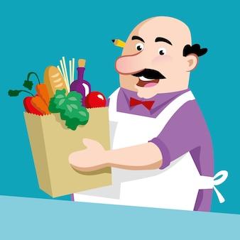 Shopkeeper vector design illustration