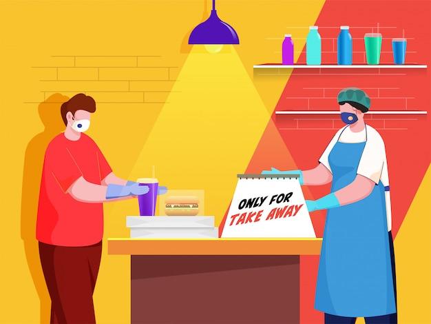 買い物客と顧客の男性は、コロナウイルスの間、テーブルでの持ち帰り用のメッセージボードで両方の保護マスクを着用します。