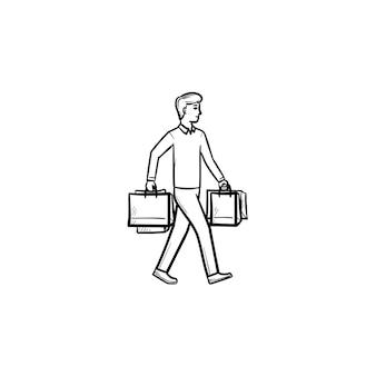 ショッピングバッグを運ぶ買い物客の手描きのアウトライン落書きアイコン。購入、小売顧客、店舗販売の概念