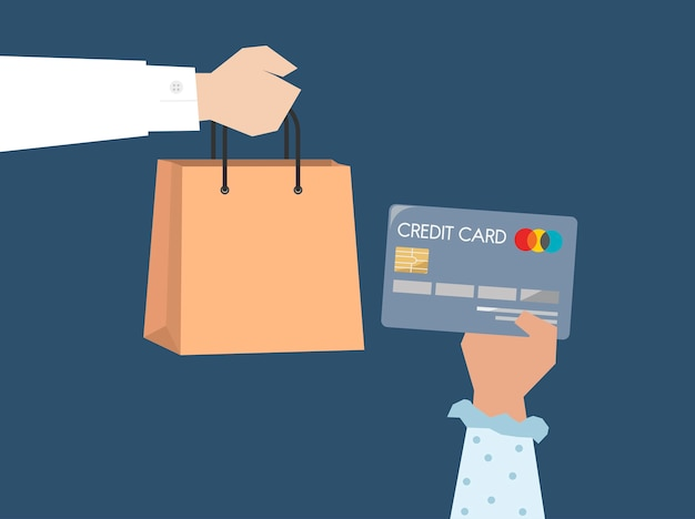 Shopper paying by credit card illustration