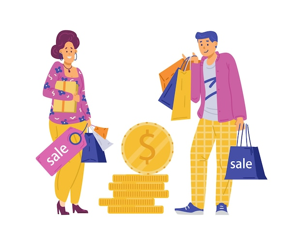 Shoppers man and woman with bags and coins flat vector illustration isolated
