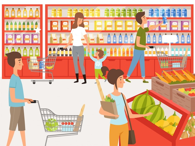 Shoppers in supermarket. illustrations of peoples near shelves of store