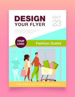 Shoppers walking past fashion outlet window flyer template
