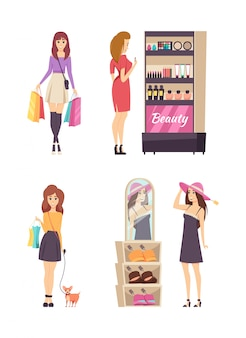 Shopping activities of young women set vector