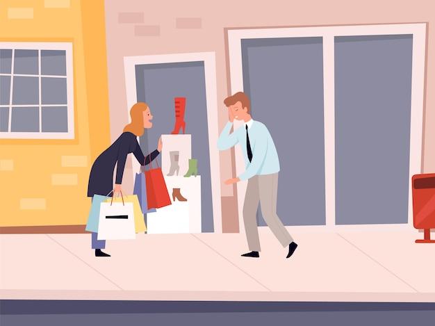 Пристрастие к покупкам. женщина хочет новые туфли, безумно устала.