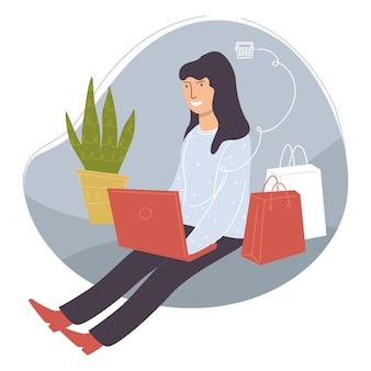 온라인 웹사이트에서 제품을 쇼핑하고 구매합니다. 노트북을 사용하여 인터넷에서 상품을 주문하는 여성. 집에 화초 옆에 앉아 가방을 든 여성 캐릭터. 고객 및 가제트. 평면 스타일의 벡터