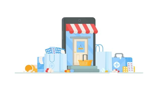 薬局から病院までの買い物と注文。錠剤と薬を持って店に入るイラスト。インターネットでのオンラインショッピング。