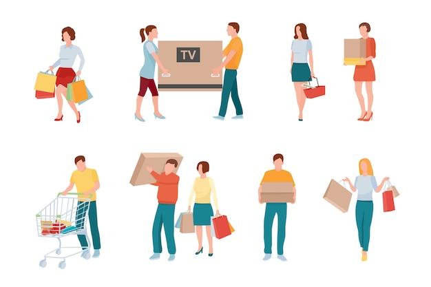 쇼핑 및 소매 문자 세트. 남성, 여성 만화 고객. 옷, 선물, 선물 구매. 슈퍼마켓, 식료품 점 구매. 포장 된 전자 제품 및 가전 제품