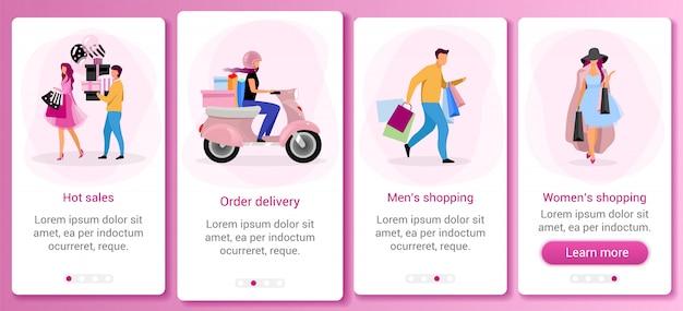 쇼핑 및 소매 온 보딩 모바일 앱 화면 템플릿. 뜨거운 판매, 할인. 구매하기. 평평한 문자가있는 연습 웹 사이트 단계 ux, ui, gui 스마트 폰 만화 인터페이스 개념
