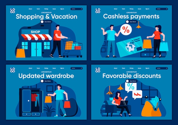 쇼핑 및 휴가 플랫 방문 페이지 설정 쇼핑객은 쇼핑백을 가지고 웹 사이트 나 cms 웹 페이지의 장면을 쇼핑합니다. 현금없는 지불, 업데이트 된 옷장, 유리한 할인 일러스트