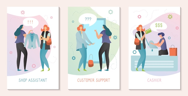 Shopping assistant concept, woman customer support, people in fashion store, illustration