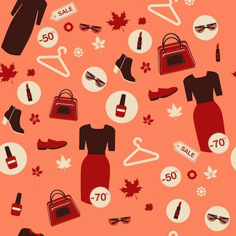 Shopping autumn sale seamless pattern